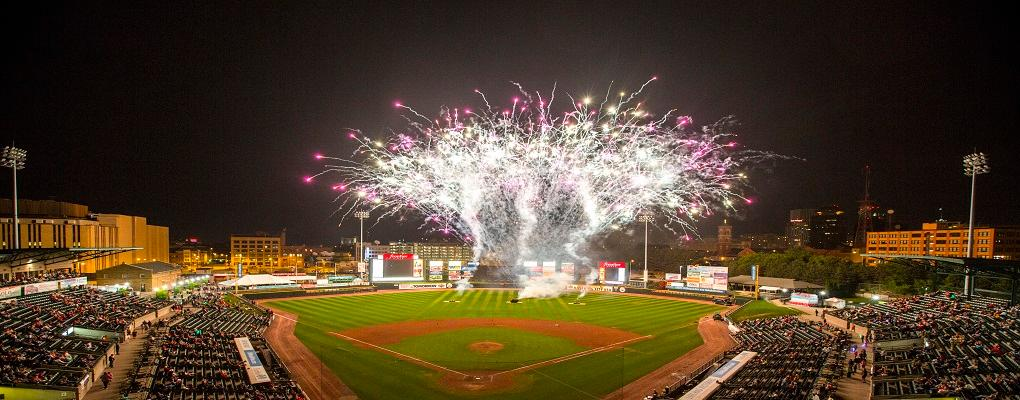 Fireworks popping off at Frontier Field, Rochester, NY.