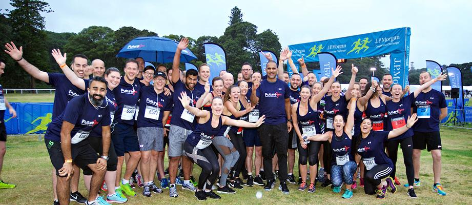 Team having fun and posing at the 2016 JPM Corporate Challenge, Sydney, Australia